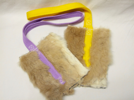 RABBIT FUR TREAT BAGS WITH VELCRO OPENING AND WATERPROOF LINER Made By Jewlnick Leather